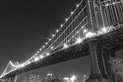 New York City Pyrography Acrylic Prints - Manhattan Bridge at twilight Acrylic Print by AHcreatrix