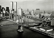 Twin Towers Trade Center Posters - Manhattan Bridge Poster by Benjamin Yeager