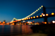 Ver Sprill Posters - Manhattan Bridge Bokeh Lights Poster by Michael Ver Sprill