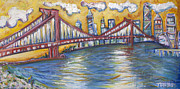 Brooklyn Bridge Painting Posters - Manhattan Bridge Poster by Jason Gluskin