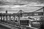 Black And White Prints Prints - Manhattan Bridge Print by John Farnan