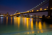 Lights Glass Art Prints - Manhattan Bridge Print by Mircea Costina Photography