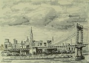 Bridge Drawings - Manhattan Bridge by Nicolas Bouteneff
