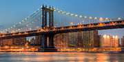Register Framed Prints - Manhattan Bridge Panoramic Framed Print by Clarence Holmes