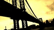 Nyc Posters Digital Art Metal Prints - Manhattan Bridge Metal Print by Paulo Guimaraes