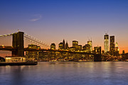 Evening Lights Posters - MANHATTAN Brooklyn Bridge Poster by Melanie Viola
