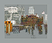 Nyc Digital Art Metal Prints - Manhattan Cluster 2 Metal Print by Linda  Parker
