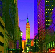 New York City Pastels Posters - Manhattan Evening Poster by Dan Hilsenrath
