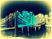 Brooklyn Bridge Mixed Media Framed Prints - Manhattan In Blue Framed Print by Irving Starr