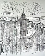 Drawn Mixed Media Prints - Manhattan Print by Janice Rae Pariza