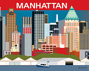 Midtown Digital Art Framed Prints - Manhattan Framed Print by Karen Young
