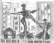 Manhattan Drawings - Manhattan Mother Hailing Cab With Daughter by Vince MacDermot