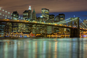 New York Skyline Art - Manhattan Night Skyline III by Clarence Holmes