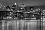 Time Exposure Posters - Manhattan Night Skyline IV Poster by Clarence Holmes