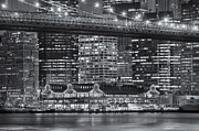Brooklyn Bridge Photo Prints - Manhattan Night Skyline VI Print by Clarence Holmes