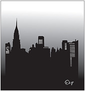 Chrysler Building Digital Art Metal Prints - Manhattan  Metal Print by Olaf Del Gaizo
