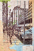 Linocut Drawings Originals - Manhattan on Map by William Cauthern