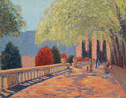 Decorative Benches Painting Prints - Manhattan Park Print by Monica Caballero