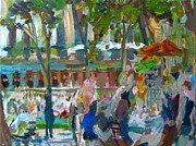 Beer Festival Painting Posters - Manhattan Park Scene Poster by Edward Ching