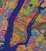 New York City Map Prints - Manhattan Print by Paul Hein
