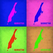 New York Map Framed Prints - Manhattan Pop Art Map 1 Framed Print by Irina  March