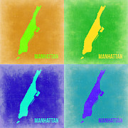 New York Map Framed Prints - Manhattan Pop Art Map 2 Framed Print by Irina  March