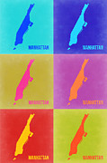 New York Map Framed Prints - Manhattan Pop Art Map 3 Framed Print by Irina  March