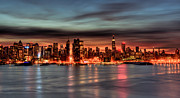 Skylines Metal Prints - Manhattan Pre Dawn Metal Print by David Hahn