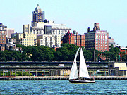 Sail Boats Prints - Manhattan - Sailboat Against Manhatten Skyline Print by Susan Savad