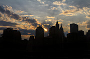 Sunset Art Print Framed Prints - Manhattan skyline at sunset Framed Print by Eduard Moldoveanu