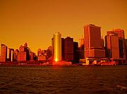 Skyline Photo Framed Prints - Manhattan Skyline at Sunset Framed Print by Monique Wegmueller
