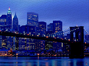 Manhattan Bridge Digital Art - Manhattan Skyline by Byron Fli Walker