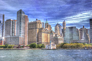 Office Buildings Prints - Manhattan Skyline from Hudson River Print by Juli Scalzi