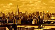 Sunset Posters Posters - Manhattan Skyline Poster by Monique Wegmueller