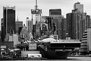 Naval Aircraft Prints - manhattan skyline USS Intrepid Aircraft Carrier new york city Print by Joe Fox