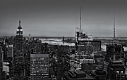 Twilight Prints - Manhattan Sunset BW Print by Susan Candelario
