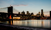 Brooklyn Bridge Prints - Manhattan Sunset Print by David Hahn