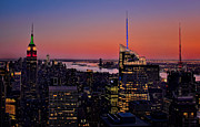 Twilight Prints - Manhattan Sunset Print by Susan Candelario
