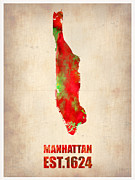 Modern Poster Framed Prints - Manhattan Watercolor Map Framed Print by Irina  March