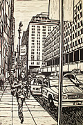 Block Print Drawings - Manhattan by William Cauthern