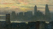 Nyc Skyline Paintings - Manhattans Misty Sunset by Childe Hassam