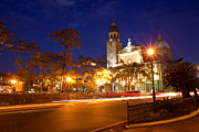 Manila Photos - Manila Cathedral at night Philippines by Fototrav Print