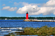 Aquatic Digital Art Metal Prints - Manistique Lighthouse Metal Print by Christina Rollo