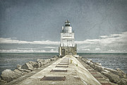 Historic Ship Posters - Manitowoc Breakwater Lighthouse II Poster by Joan Carroll