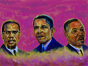 Civil Rights Pastels Posters - M.A.N...Malcolm- obamA- martiN Poster by Tommy  Winn