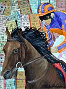 Kentucky Derby Mixed Media Prints - Manmouth Derby Print by Michael Lee