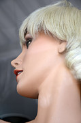 Fashion Photography Prints - Mannequin Art - Blonde Female Mannequin Face  Print by Kathy Fornal