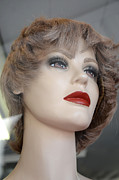 Paris Art Deco Prints Photos - Mannequin Art - Female Mannequin Face With Red Lips by Kathy Fornal