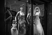 Apparel Framed Prints - Mannequin Bridal Party in a Window Display Framed Print by Randall Nyhof
