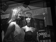 Apparel Framed Prints - Mannequins in Storefront Window Display with Pizza Sign Framed Print by Randall Nyhof